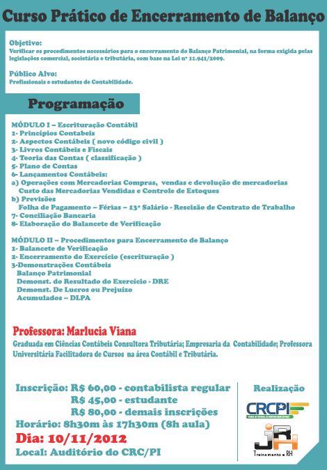 Curso sobre Encerramento de Balanço é adiado para Janeiro