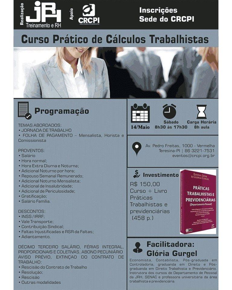 Curso Prático de Cálculos Trabalhistas acontece neste sábado (14)