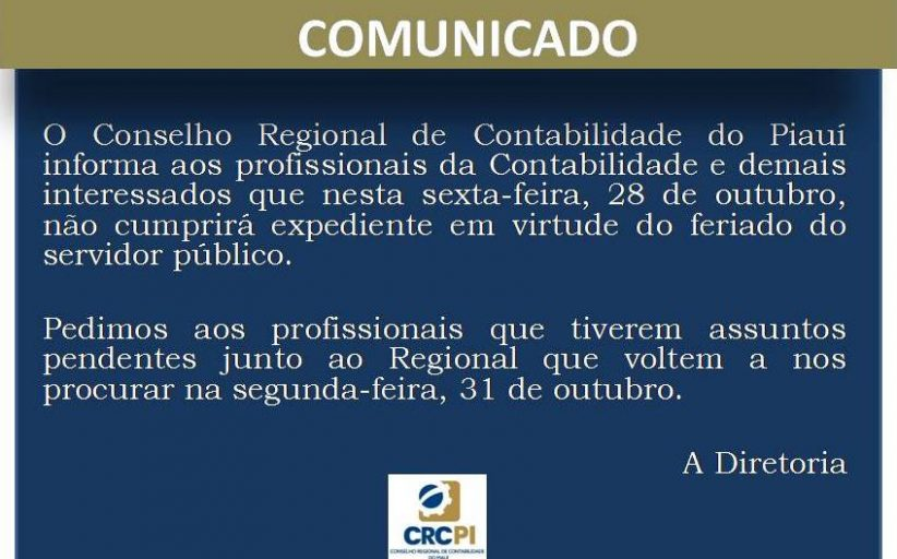 COMUNICADO - DIA DO SERVIDOR