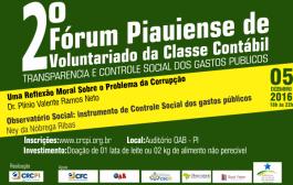 II Fórum do Voluntariado da Classe Contábil do Piauí vai discutir corrupção e controle social dos gastos públicos