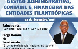 Estão reabertas as inscrições para o curso Gestão Administrativa, Contábil e Financeira das Entidades Filantrópicas