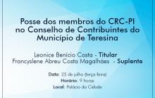Posse de membros do CRC-PI no Conselho de Contribuintes de Teresina será dia 25