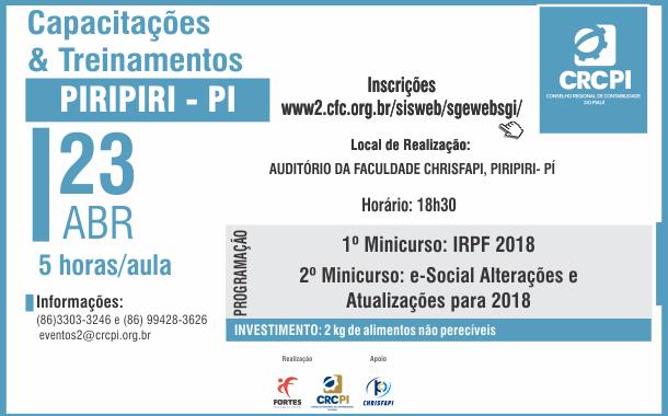 Piripiri receberá capacitação sobre IRPF 2018 e Simples Nacional