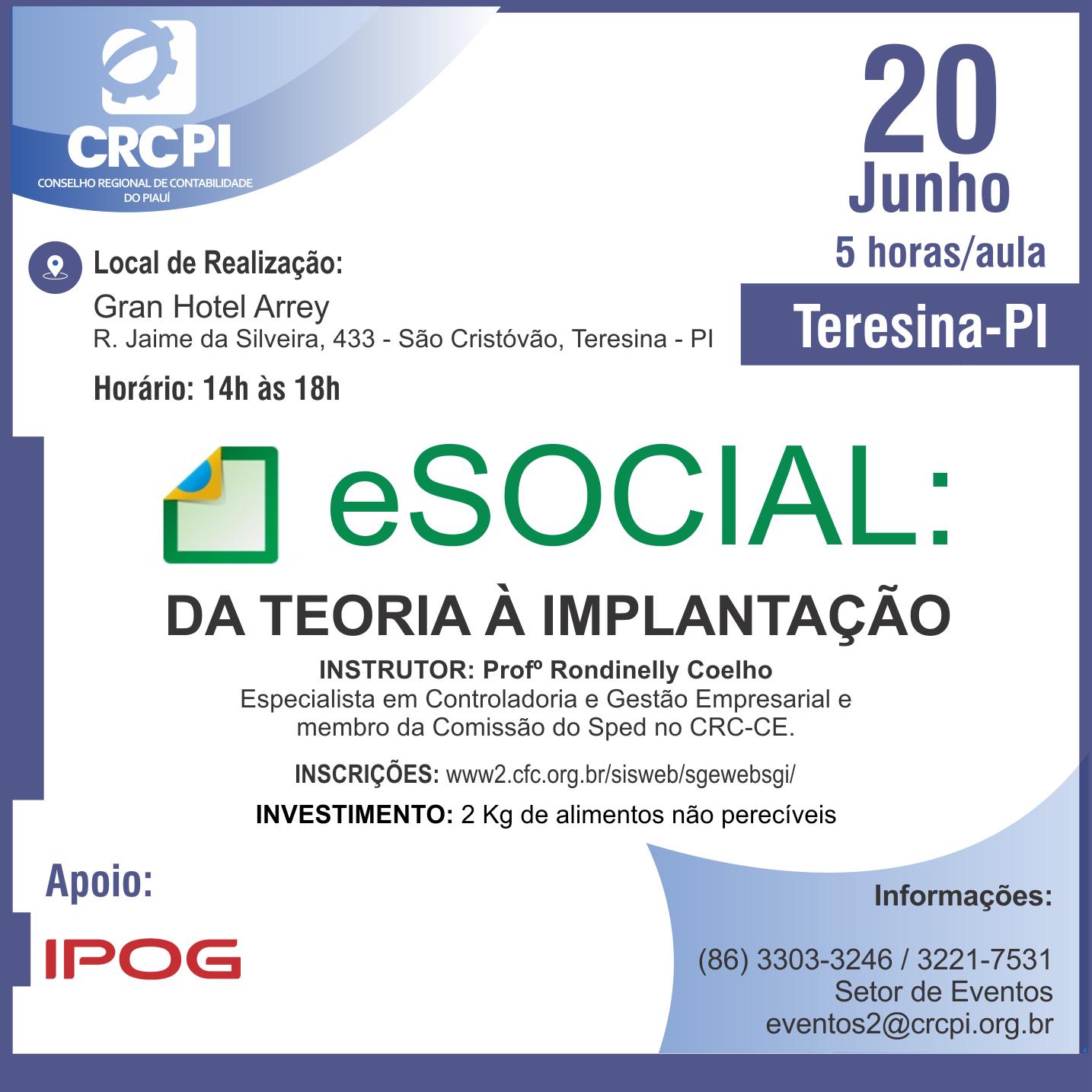 CRC-PI abre inscrições para ocurso sobre eSocial em Teresina