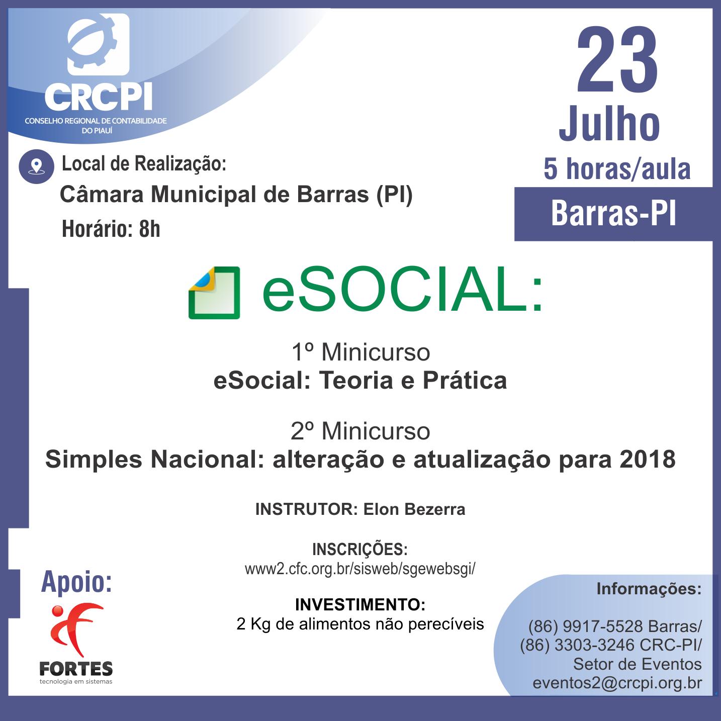 Inscrições abertas para o curso sobre eSocial e Simples Nacional em Barras