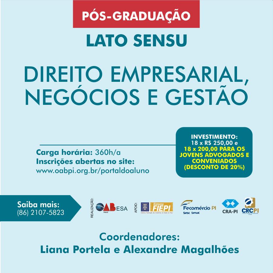 ESA-Piauí abre inscrições para Pós em Direito Empresarial, Negócios e Gestão