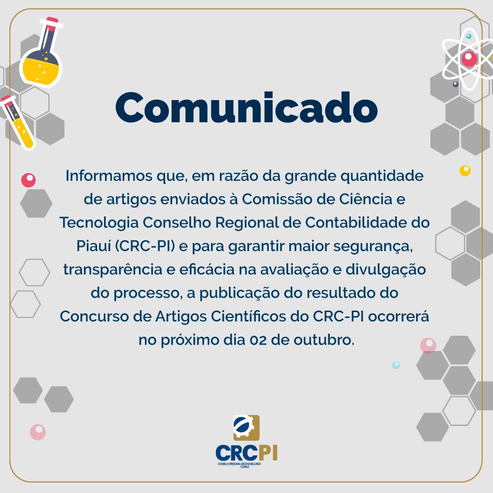 COMUNICADO - CONCURSO DE ARTIGOS CIENTÍFICOS DO CRC-PI