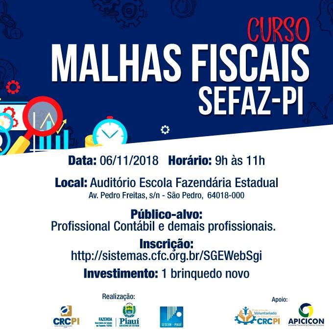 CRC-PI realiza curso sobre Malhas Fiscais na Escola Fazendária Estadual