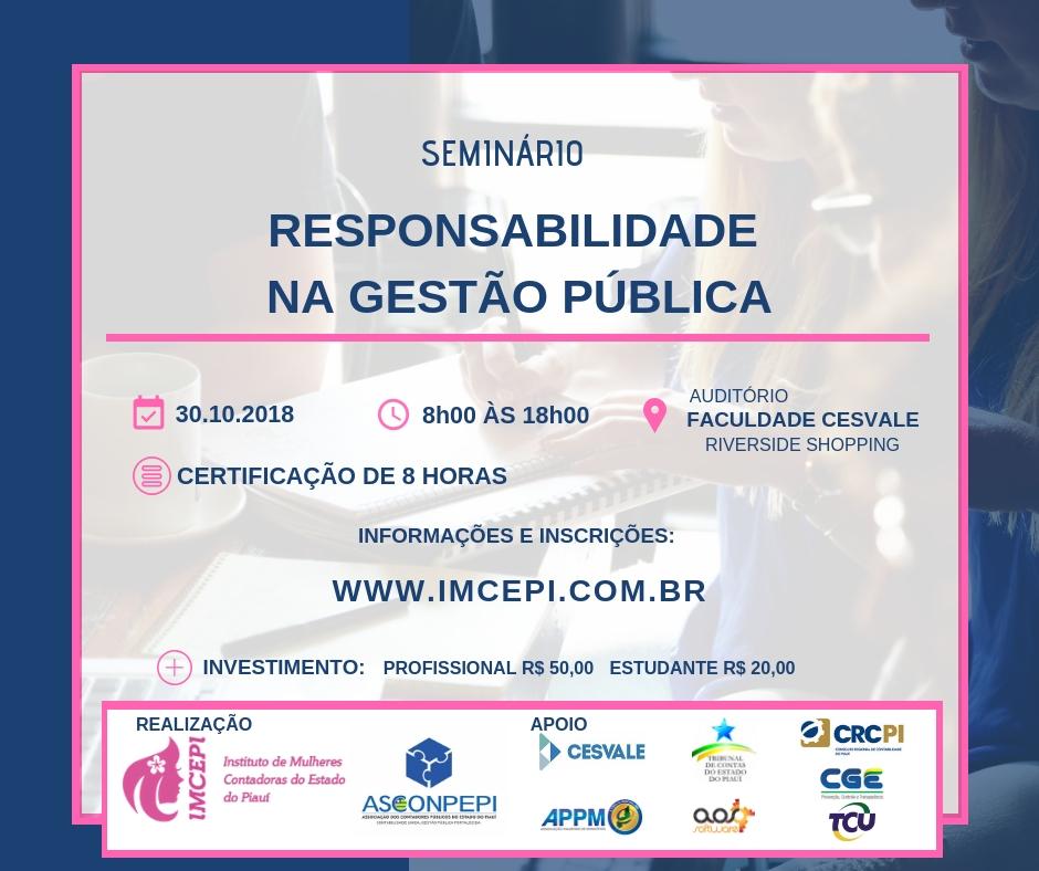 Teresina recebe Seminário Responsabilidade na Gestão Pública