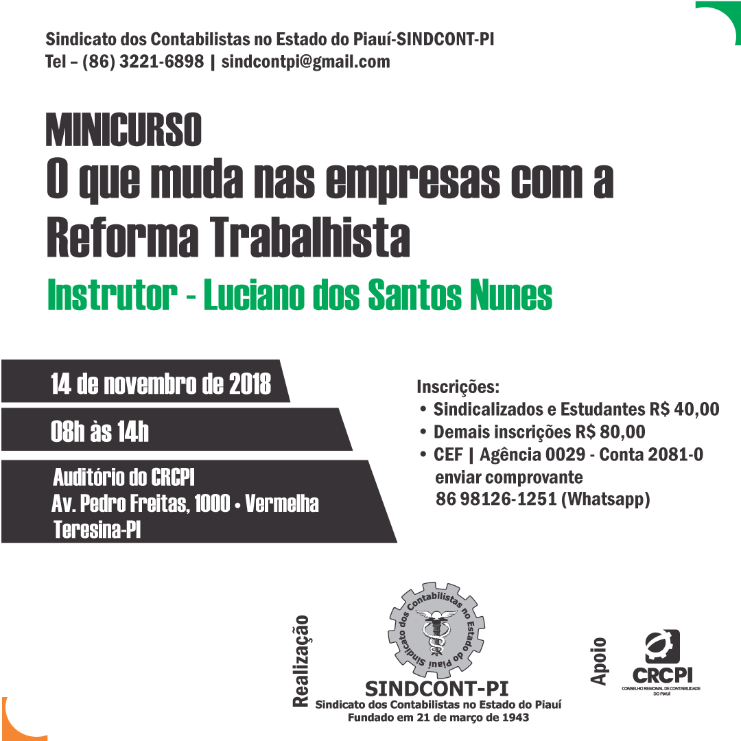CRC-PI e Sindicato realizam curso sobre Reforma Trabalhista nas empresas