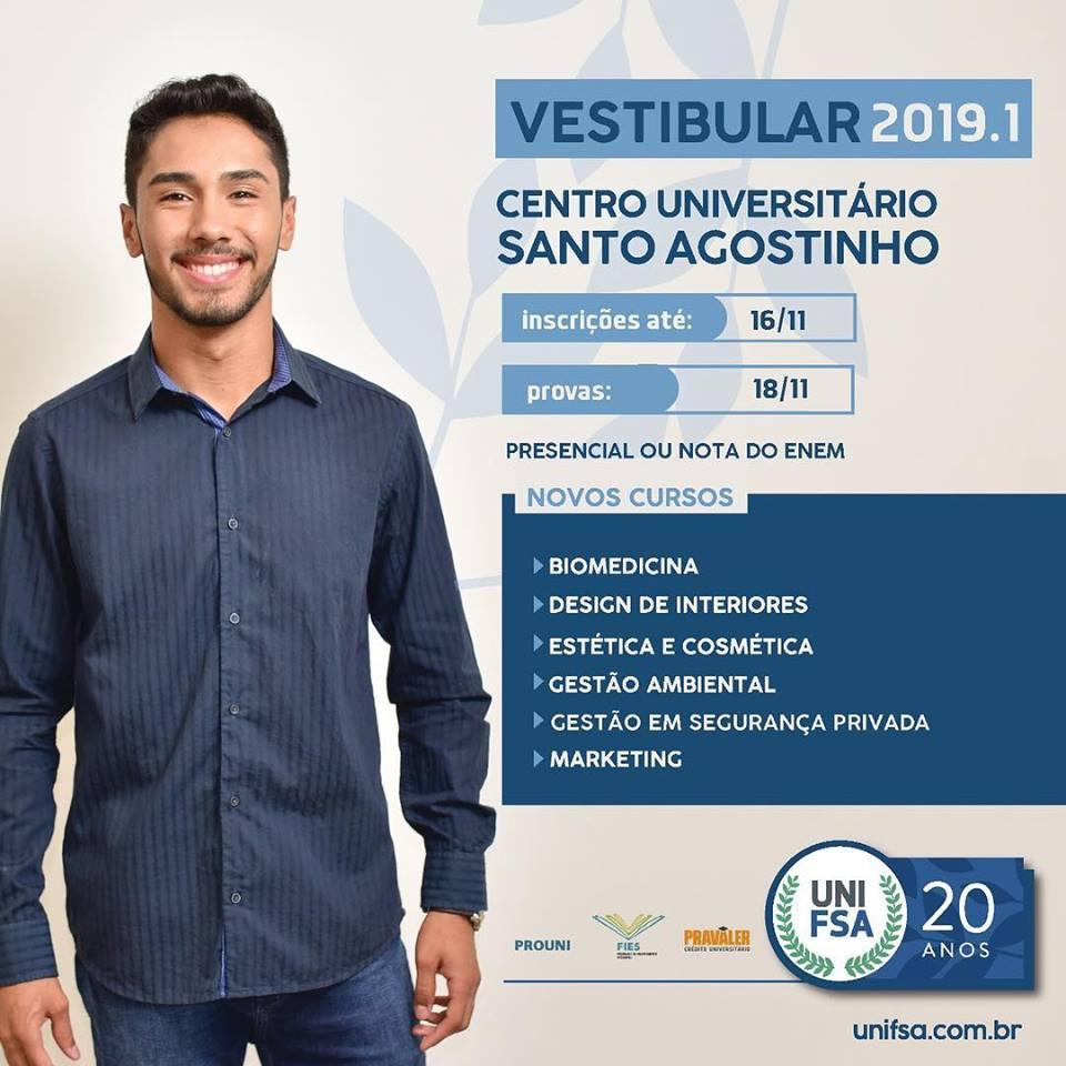 Inscrições abertas para o Vestibular 2018.2 do UNIFSA