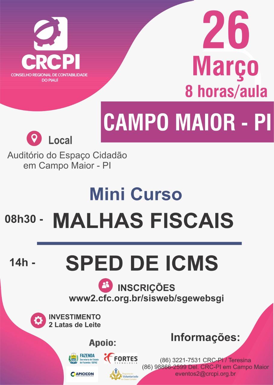 CRC-PI promove capacitação sobre Malhas Fiscais SPED do ICMS em Campo Maior