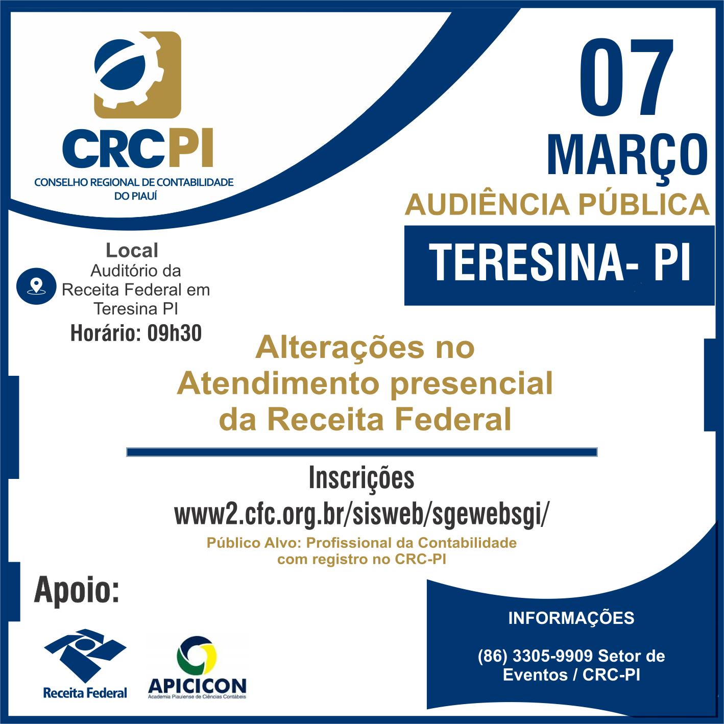 CRC-PI promove audiência pública para falar sobre as alterações no atendimento presencial da Receita Federal