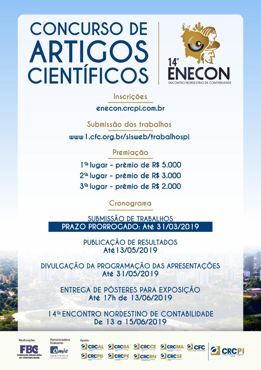 CRC-PI prorroga prazo de submissão de trabalhos do Concurso de Artigos Científicos do 14º ENECON