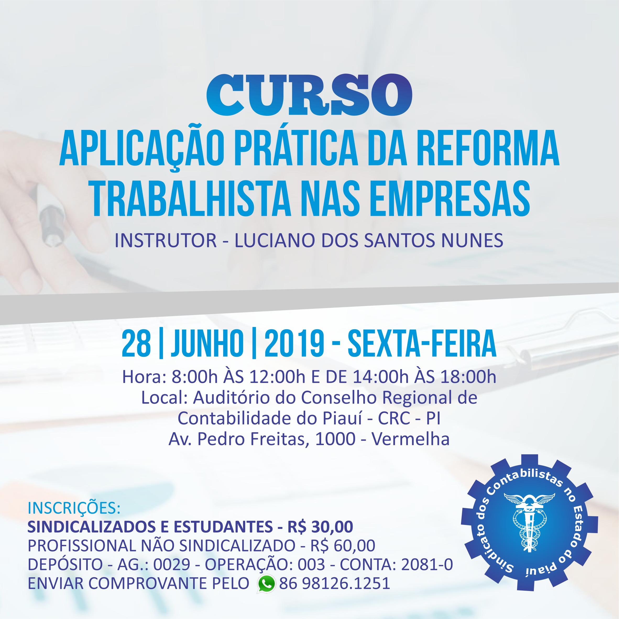 Curso sobre Aplicação Prática da Reforma Trabalhista nas Empresas acontece nesta sexta (28)