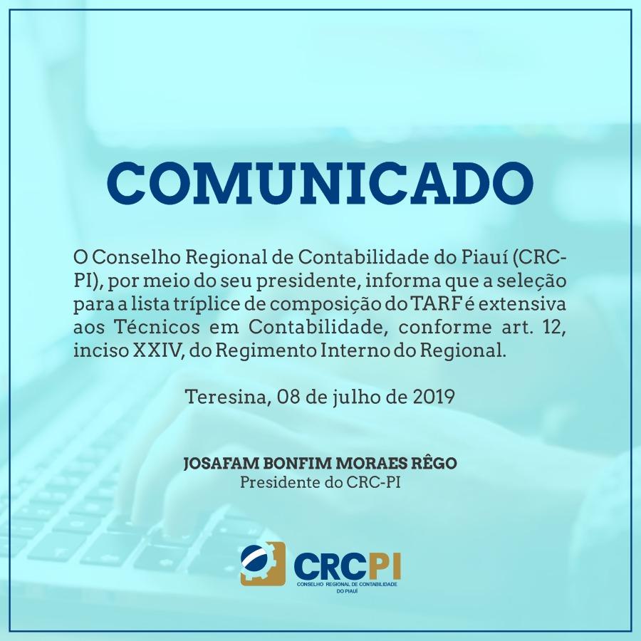 COMUNICADO – Lista Tríplice para o TARF